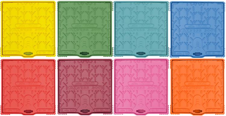 plaque d'égout colorée, fonte couleur