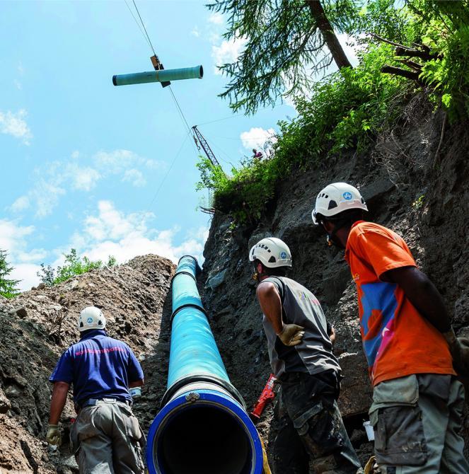 assistance sur chantier hydro électricité saint gobain PAM